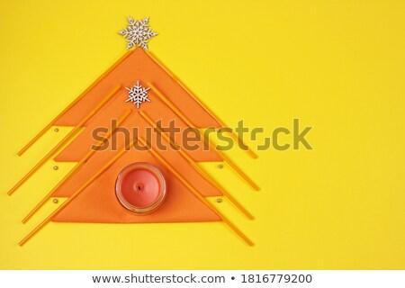 gyertya · citromsárga · kő · gyertyatartó · fém · felirat - stock fotó © oneinamillion