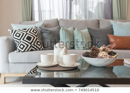 Thee ingesteld comfortabel salon achtergrond kamer Stockfoto © HASLOO