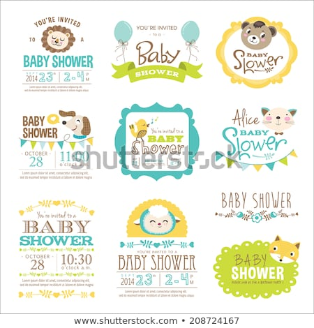 Stock photo: baby shower card with cat