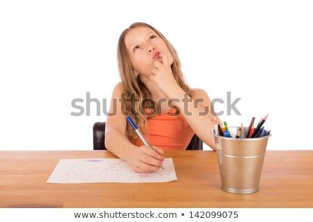 criança · sessão · tabela · desenho · mesa · de · madeira - foto stock © doupix