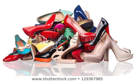 Magas sarok nyár cipő izolált fehér nők Stock fotó © photobac