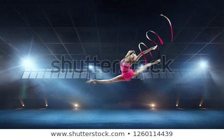 гимнаст белый девушки тело мяча силуэта Сток-фото © mayboro1964