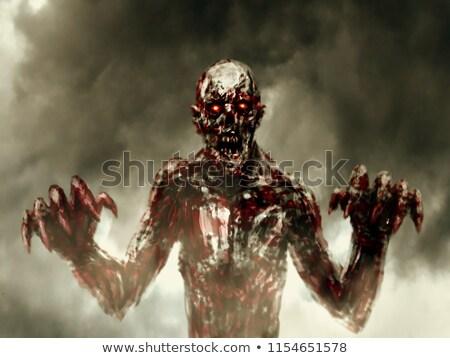 Zombi nyújtás véres kezek stúdiófelvétel szürke Stock fotó © Elisanth