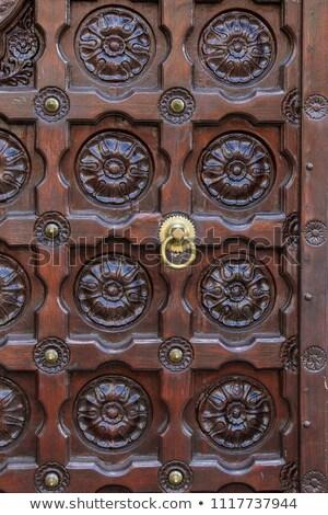 antique wooden door with metal decor stock photo © elisanth