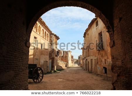 romok · öreg · templom · elpusztított · spanyol · polgárháború - stock fotó © pedrosala