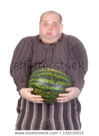 Obese man carrying a watermelon Stock photo © Discovod