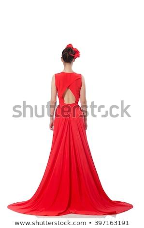 Zacht vrouw rode jurk mooie wal strand Stockfoto © ssuaphoto