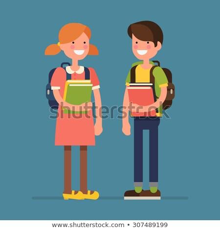 kind · permanente · boeken · terug · naar · school · gelukkig · cute - stockfoto © stockyimages