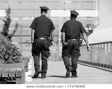 Rendőr rendőrtiszt sétál illusztráció elöl kilátás Stock fotó © patrimonio