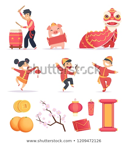 Oriental man Chinese New Year Stock photo © szefei