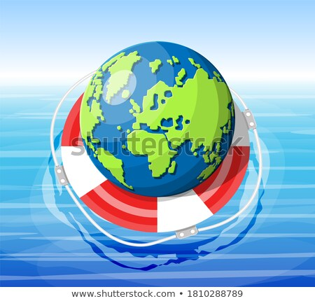Stock photo: Globe and lifebuoy ring. Save the world concept