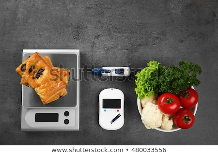 Glucose meter device with accessories. Vegetables and healthy lifestyle Stock photo © simpson33