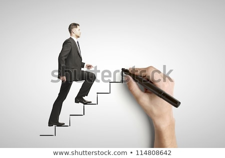 hand draws stairs with walking businessman on white stock photo © vlad_star