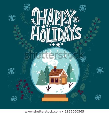 vrolijk · kerstboom · wenskaart · christmas · hippie · boom - stockfoto © marimorena