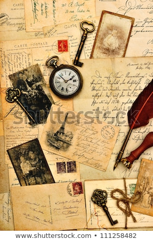 vintage clock on grunge old paper texture stock photo © stevanovicigor
