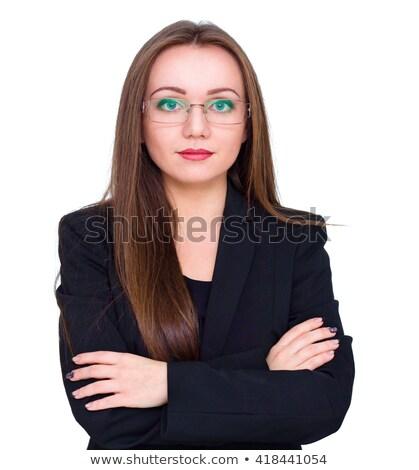 jóvenes · morena · mujer · de · negocios · gafas · mirando · mujer · de · negocios - foto stock © sebastiangauert