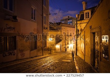 Lisboa noche calles edad casas histórico Foto stock © meinzahn