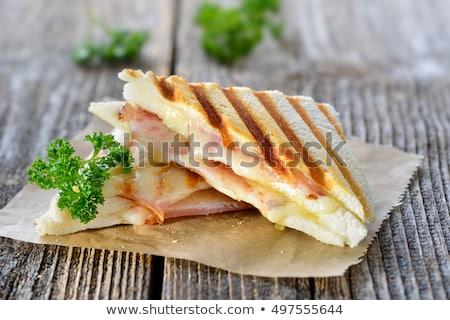 Stockfoto: Vers · geroosterd · kaas · ham · sandwich · tomaten