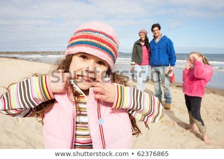 7 años nina invierno vacaciones nino sombrero Foto stock © monkey_business