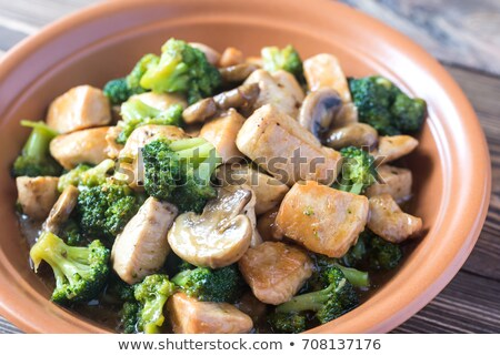 Foto d'archivio: Broccoli · funghi · pollo · cena · carne · vegetali