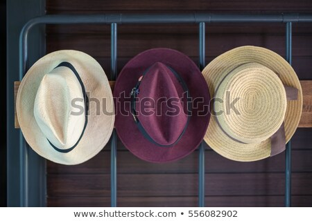 vintage hat stand and hanger clothes set on white wall stock photo © frameangel