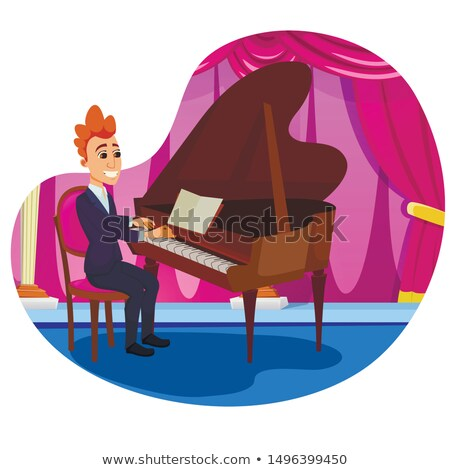 performing a piano piece on stage Stock photo © aspenrock