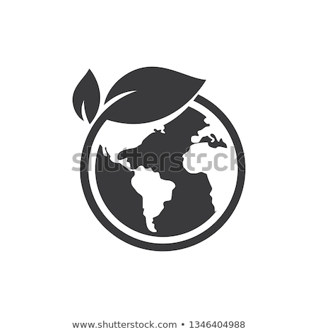 Green Earth World on Leaf  Icon Symbol Stock photo © fenton