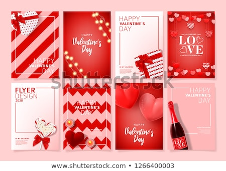 Valentines day love card with champagne, vector illustration Stock photo © carodi
