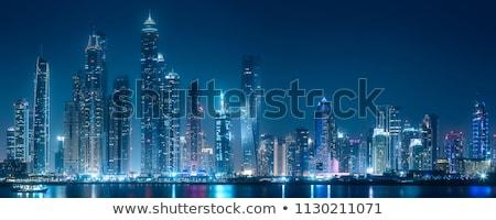 színes · város · épületek · éjszaka · vektor · városkép - stock fotó © tracer