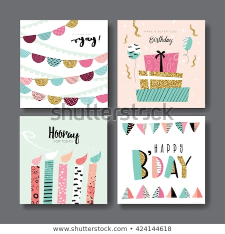Greeting card with birthday present boxes stock photo © heliburcka