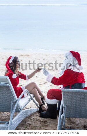 mrs santa with champagne glass stock photo © elisanth