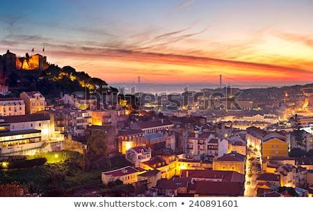 Lisboa belo panorama pôr do sol luz Portugal Foto stock © joyr
