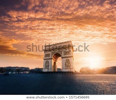 горизонтальный · мнение · известный · Триумфальная · арка · Париж · автомобилей - Сток-фото © joyr