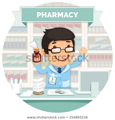 Apothecary behind the Counter at Pharmacy Round Banner Stock photo © Voysla