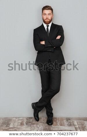 Portret zakenman armen gevouwen grijs handen Stockfoto © deandrobot