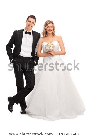 Engagement. Pretty Young Newlywed in White Dress Stock photo © gromovataya