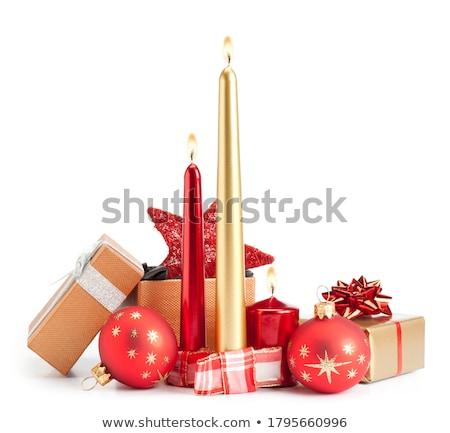 Christmas Rood kaars zilver sparren decoraties Stockfoto © IngridsI