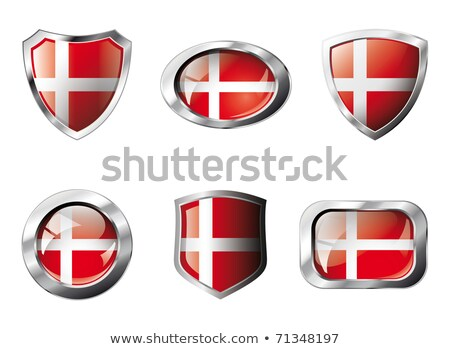 Praça metal botão bandeira Dinamarca isolado Foto stock © MikhailMishchenko