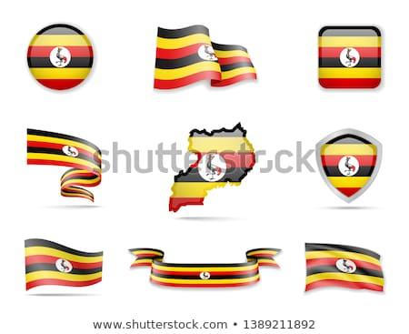 Térkép zászló gomb köztársaság Uganda vektor Stock fotó © Istanbul2009