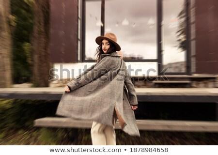 Csábító fiatal nő szürke néz kamera közelkép Stock fotó © stryjek