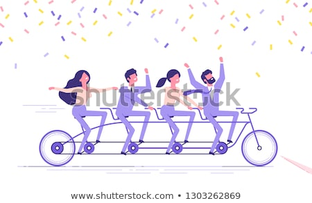 Stock photo: Team of Four People image. Concept of Group of People, happy team, victory