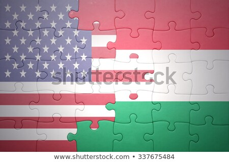 Stock photo: USA and Hungary Flags in puzzle