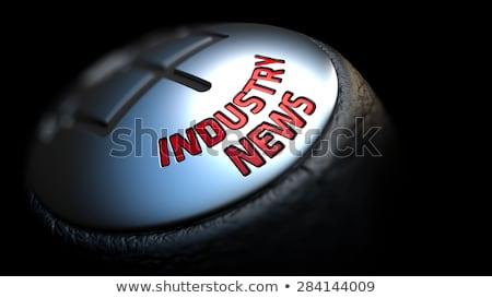 Industrie nieuws versnelling stick Rood tekst Stockfoto © tashatuvango