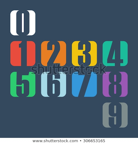 Stock photo: Numbers Counting Square Vector Red Icon Design Set