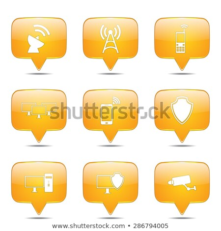 telecom communication square vector yellow icon design set stock photo © rizwanali3d