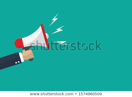 Kéz hangfal izolált tart üzlet háttér Stock fotó © fuzzbones0