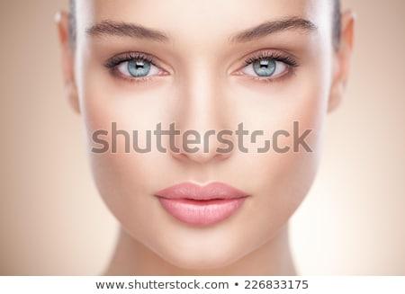 Közelkép portré testrész szürke fal bikini Stock fotó © deandrobot