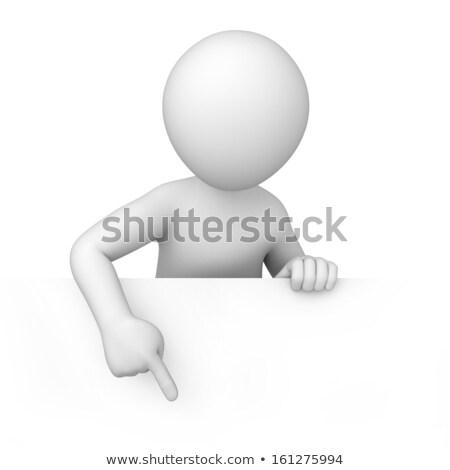 3d · ember · mutat · üres · papír · fehér · elöl · szög - stock fotó © nithin_abraham