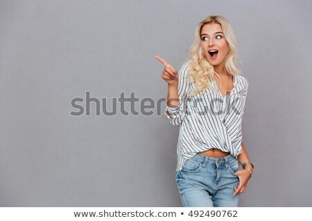 portre · mutlu · gündelik · kadın · işaret · parmak - stok fotoğraf © deandrobot