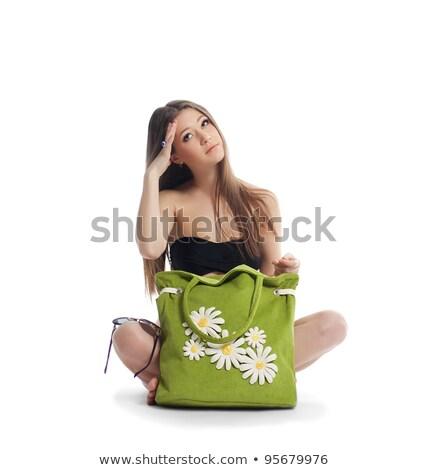 Happy young girl with hat and green bikini Stock photo © nenetus